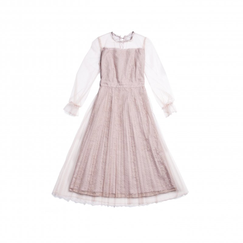 GYF TOKYO - THE DOT TULLE PLEATED DRESS(PINK BEIGE)