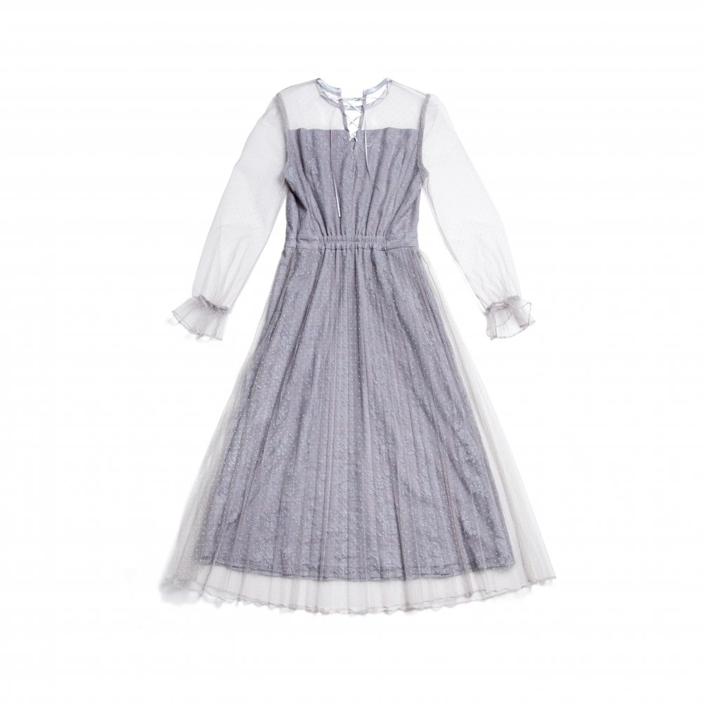 THE DOT TULLE PLEATED DRESS(BLUE GRAY)
