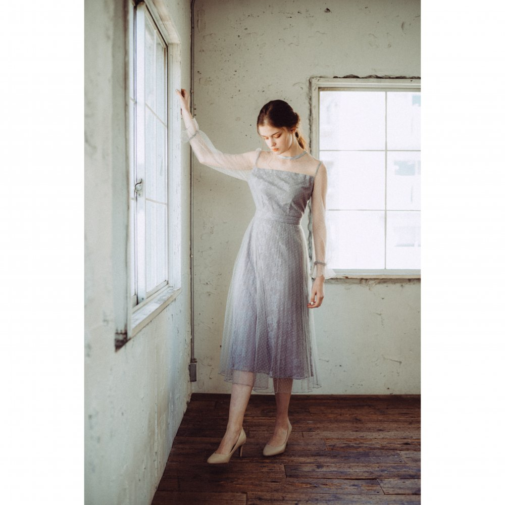 THE DOT TULLE PLEATED DRESS(BLUE GRAY)<img class='new_mark_img2' src='https://img.shop-pro.jp/img/new/icons21.gif' style='border:none;display:inline;margin:0px;padding:0px;width:auto;' />