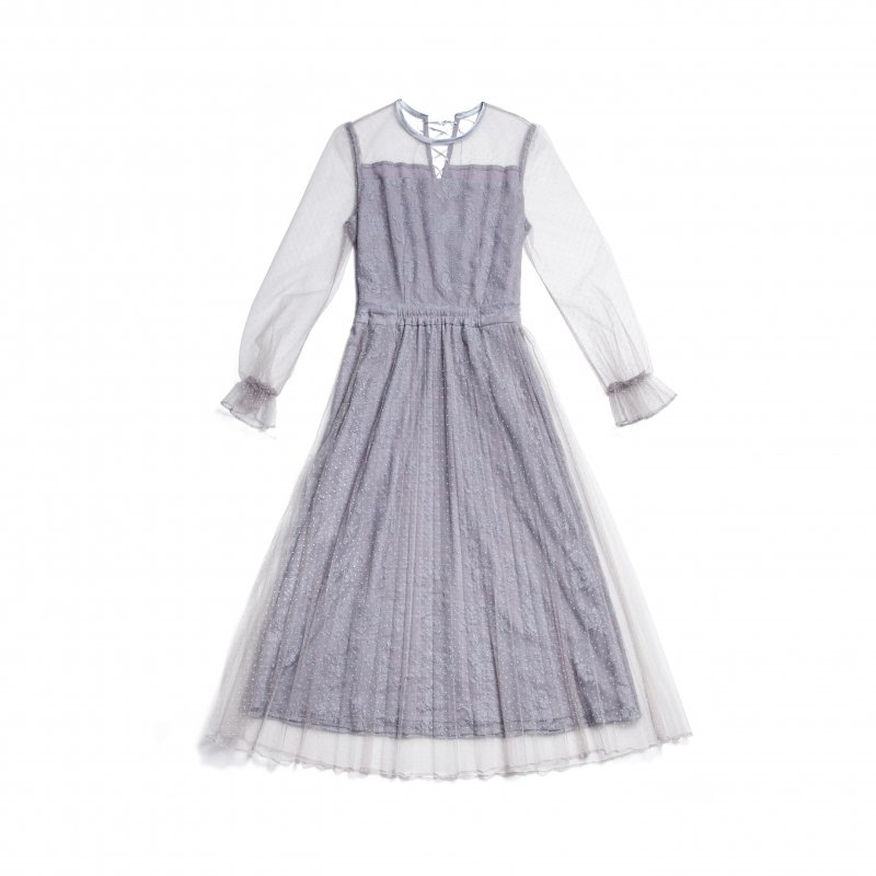 GYF TOKYO - THE DOT TULLE PLEATED DRESS(BLUE GRAY)