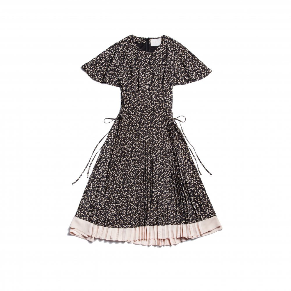 THE FLOWER PATTERN SIDE LACE-UP DRESS(BLACK)