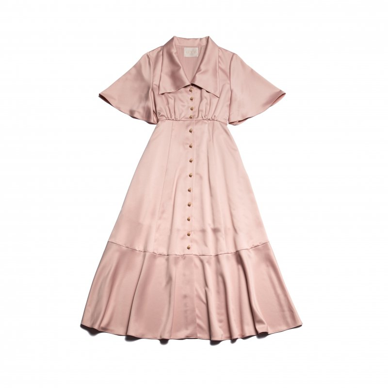 GYF TOKYO - THE TRIANGLE COLLAR MAXI DRESS (PINK BEIGE)<img class='new_mark_img2' src='https://img.shop-pro.jp/img/new/icons21.gif' style='border:none;display:inline;margin:0px;padding:0px;width:auto;' />