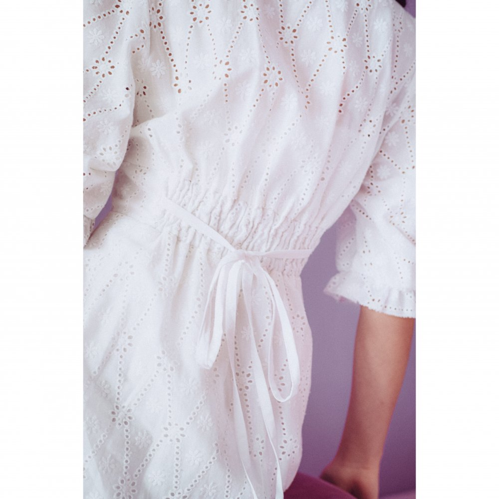 THE COTTON LACE VOLUME SLEEVE DRESS(WHITE)