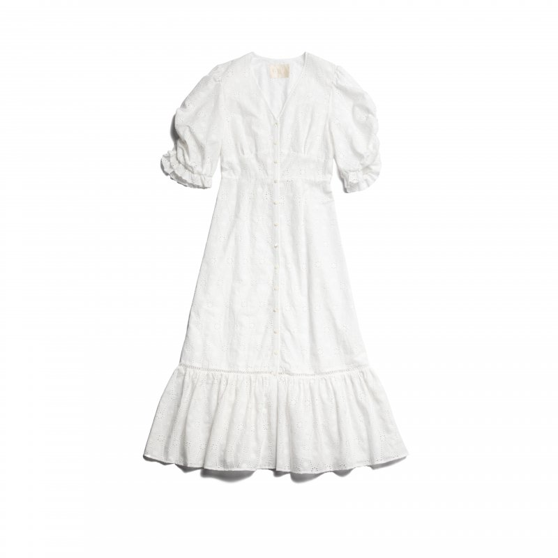 GYF TOKYO - THE COTTON LACE VOLUME SLEEVE DRESS(WHITE)