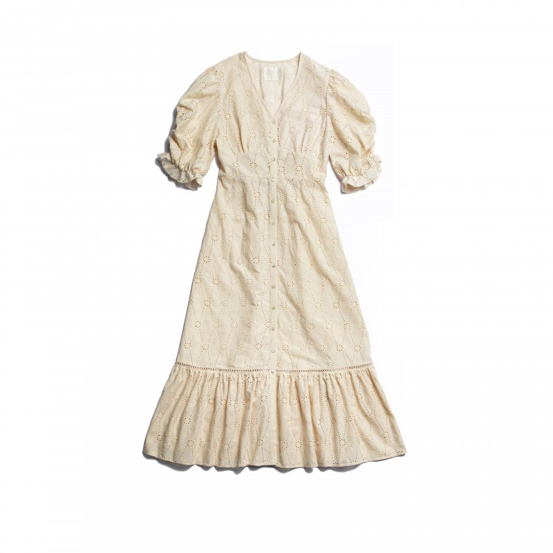 GYF TOKYO - THE COTTON LACE VOLUME SLEEVE DRESS(BEIGE)