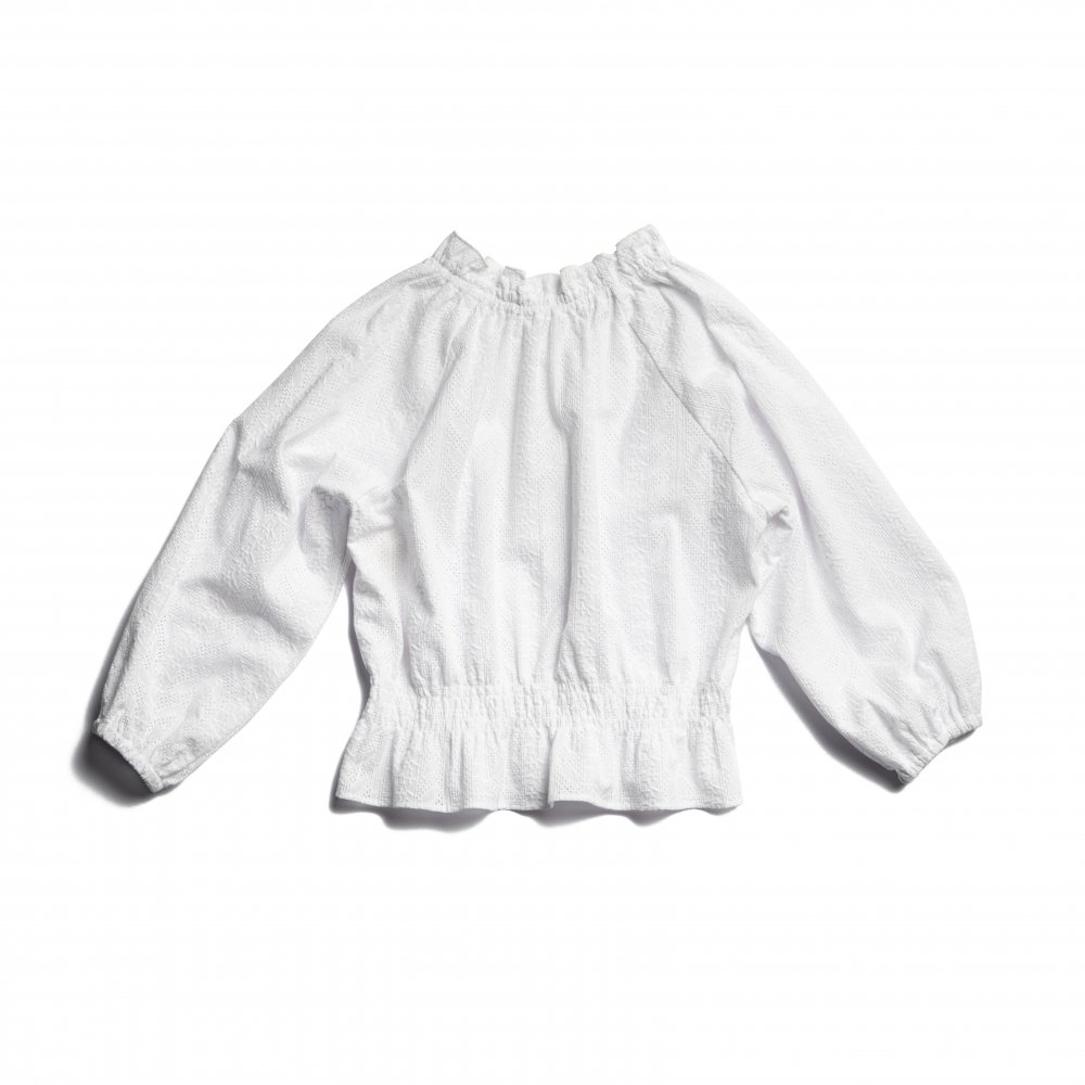 THE COTTON LACE FRILL COLLAR BLOUSE(WHITE)