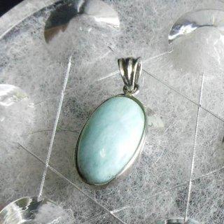 ペンダントトップ ラリマー 925銀 スターリングシルバー シンプルな石枠 オーバルペンダント