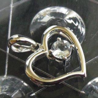 ペンダントトップ ハート 925銀 シルバー プチサイズのペンダント アクアマリン ルビー