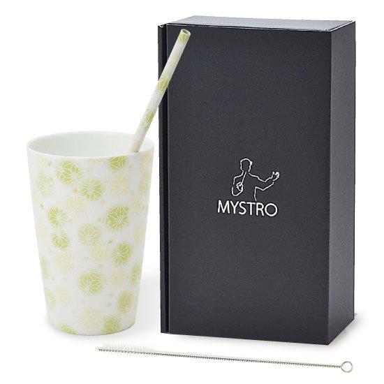 MYSTRO primo マイストロプリモ&プリモタンブラー 麻の葉ライム オリジナルBOX入り 陶磁器ストロー 陶製ストロー 美濃焼ストロー