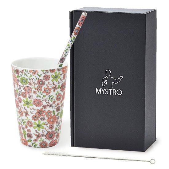 MYSTRO primo マイストロプリモ&プリモタンブラー 花園ピンク オリジナルBOX入り ギフト 贈り物 マイストロー おみやげ 陶磁器ストロー おしゃれ 脱プラスチック