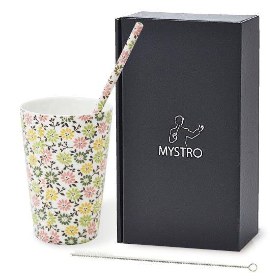MYSTRO primo マイストロプリモ&プリモタンブラー フローラル オリジナルBOX入り 陶磁器ストロー 陶製ストロー 美濃焼ストロー
