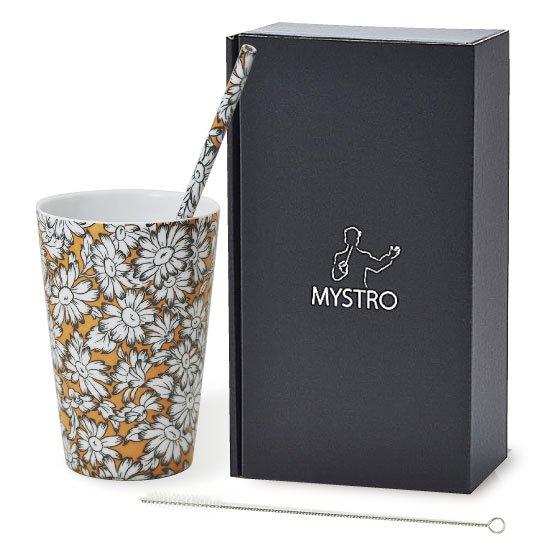 MYSTRO primo マイストロプリモ&プリモタンブラー ヒマワリ オリジナルBOX入り ギフト 贈り物 マイストロー おみやげ ストロー 陶器 陶製 陶磁器ストロー おしゃれ 脱プラスチック