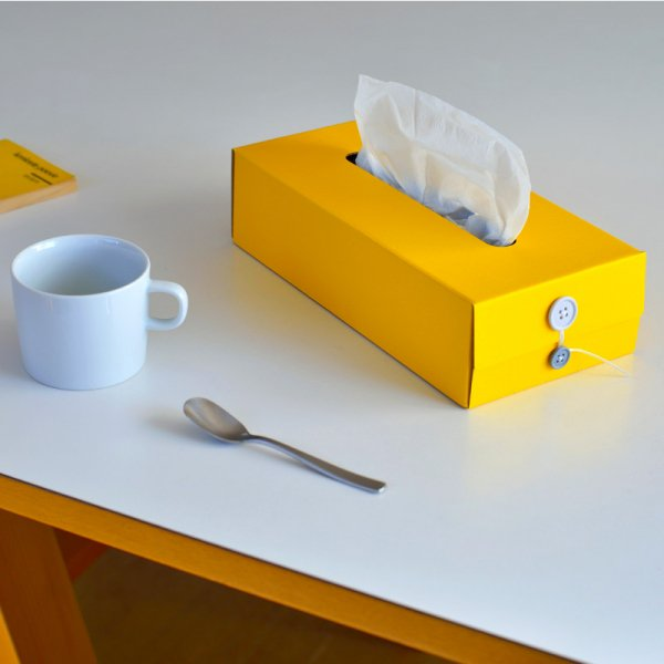 Button Tissue Box (Yellow)