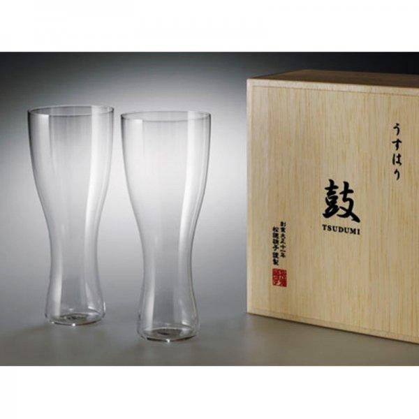 うすはり ビールグラス 鼓 (ピルスナー2P木箱セット)