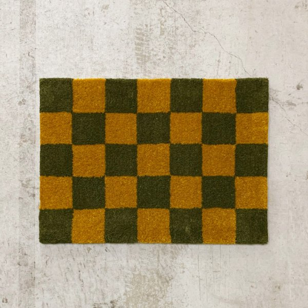 Original Rug / Block(Ochre x Moss Green)<img class='new_mark_img2' src='//img.shop-pro.jp/img/new/icons5.gif' style='border:none;display:inline;margin:0px;padding:0px;width:auto;' />