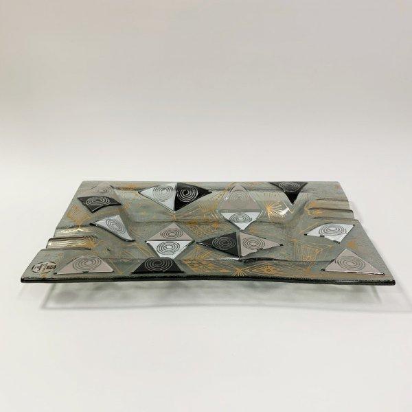 Higgins Glass / Rectangular Ash Tray / Black Triangles / #42
