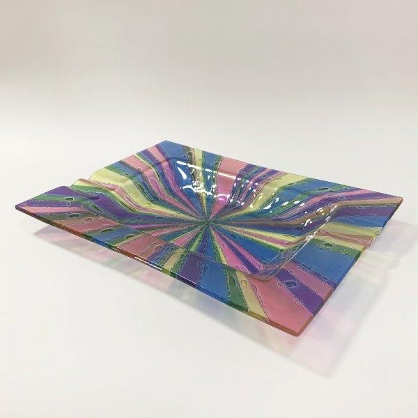 Higgins Glass / Rectangular Ash Tray / Roman Stripe / #43