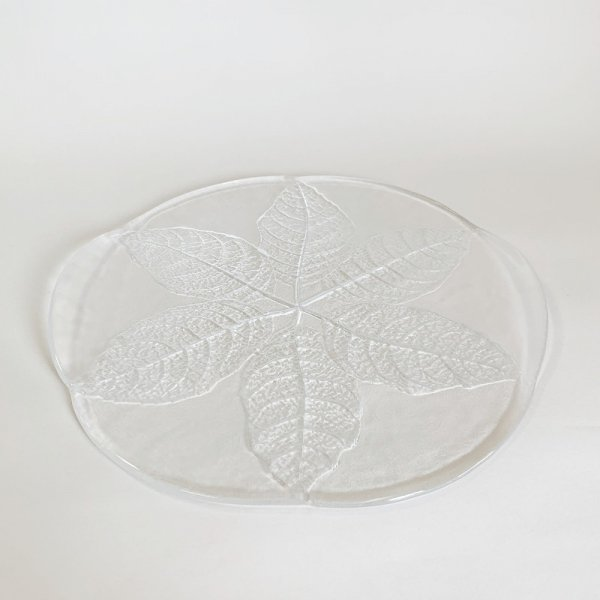 Kosta Boda Serving Glass Plate / Leaf Pattern