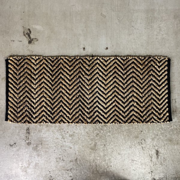 Hemp Cotton Herringbone Rug 120x50cm Black