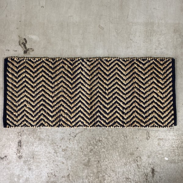 Hemp Cotton Herringbone Rug 120x50cm Navy