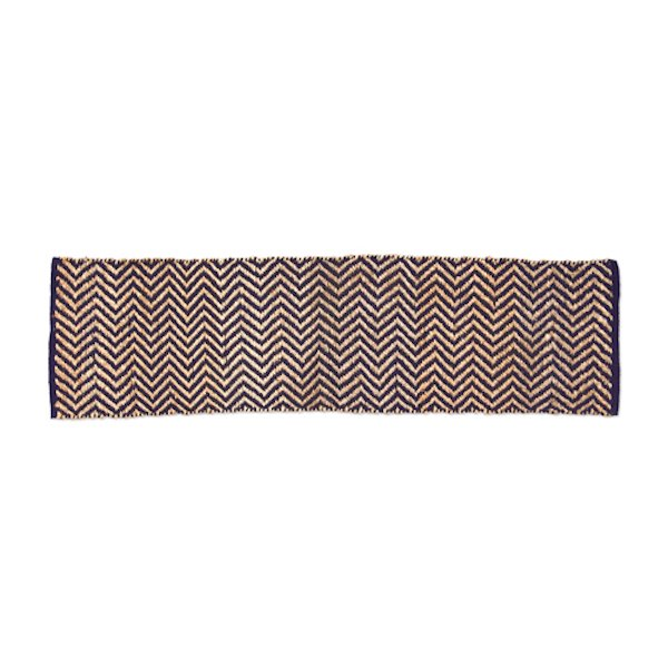Hemp Cotton Herringbone Rug 180x50cm Navy