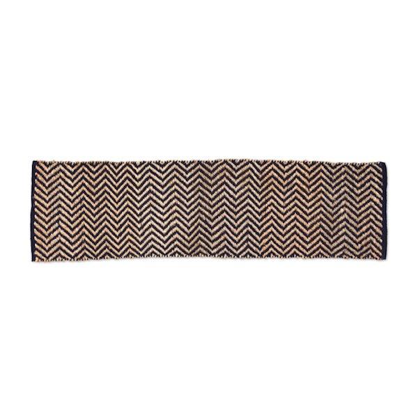 Hemp Cotton Herringbone Rug 180x50cm Black