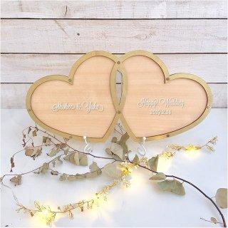ゴールドレーム 刻印ハートドロップス 結婚証明 60から100名用 | ウェディング ブライダル メッセージ 結婚式 ウェルカムスペース チップ