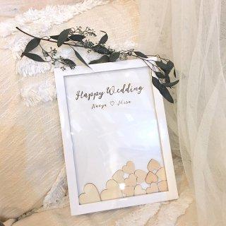 25から100名様用 ホワイトフレーム ハートドロップス 結婚式 ウェルカムスペース