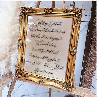 ミラーウェルカムボード 結婚証明書ver 最新のおしゃれウェルカムスペース演出アイテム 結婚式 ウェディング