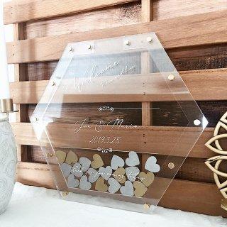 ハートドロップス  六角形(ヘキサゴン)クリアフレーム おしゃれなゴールド&シルバーチップ付き ウェディング 結婚式