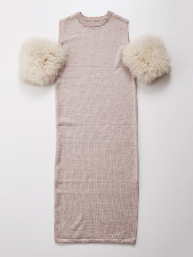 Fur Sleeve Knit Dress