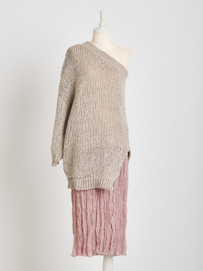 【Pre order】One-Shoulder Layered Knit Dress