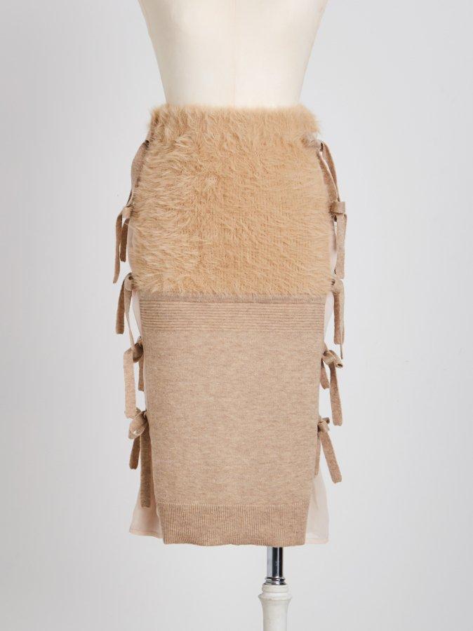 【Pre order】Side Ribbon Knit Skirt