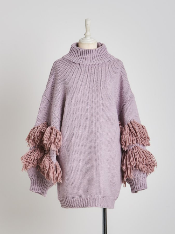 【Pre order】Fringe Sleeve Knit Tunic