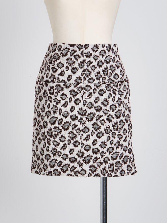 【Pre order】Leopard Jacquard Mini Skirt