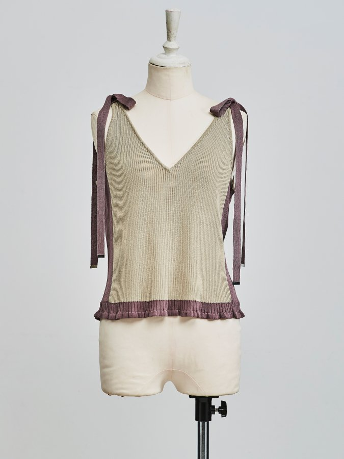 【Pre order】Bi-color Knit Camisole
