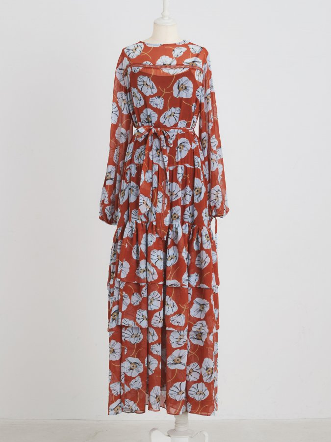 Flower Teared Gather Dress