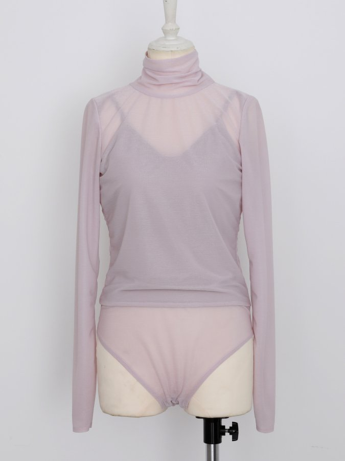 【Pre order】Turtle Neck Sheer Leotard