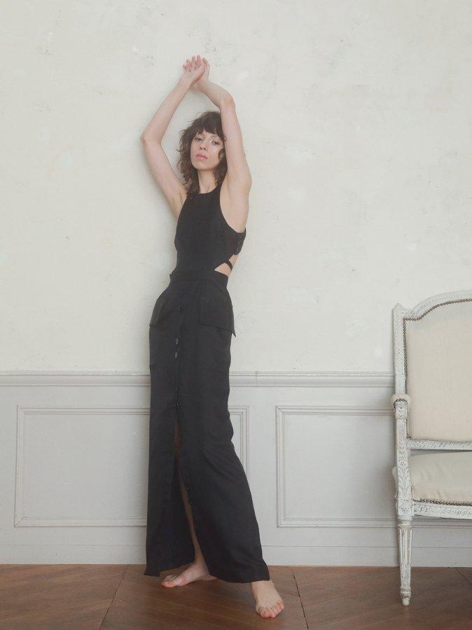 【Pre order】Back Cross Chambray Dress