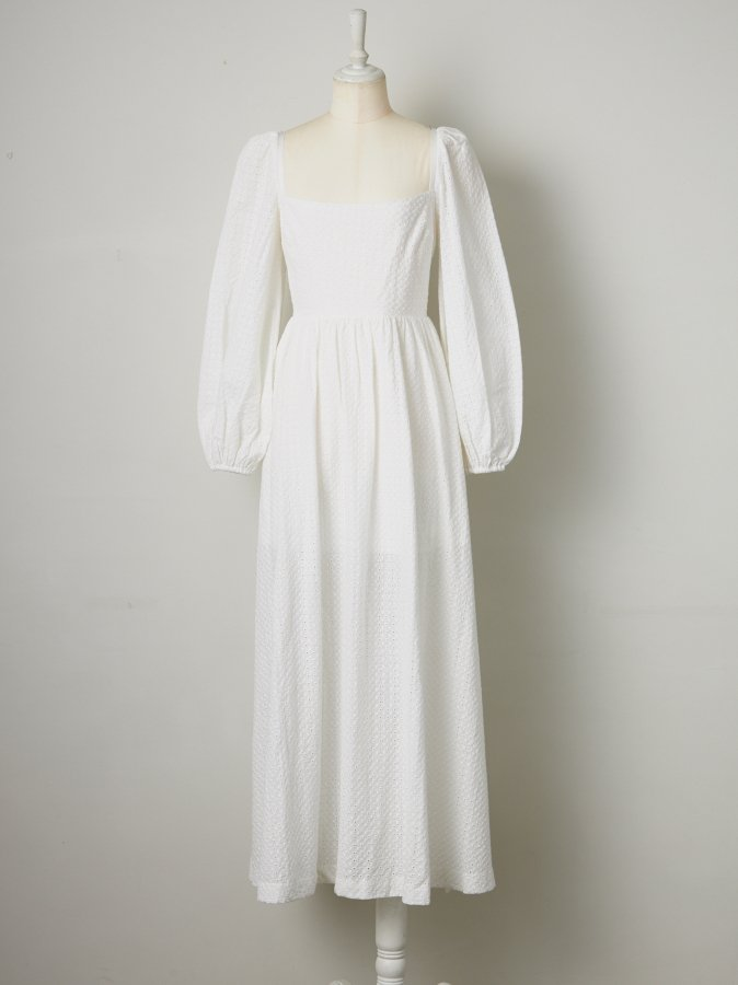 【Pre order】Eyelet Lace Balloon Sleeve Dress