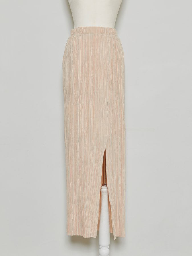 Pleated Slit Skirt