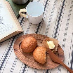 オーバルパン皿リム付24cm クルミ|渡邊浩幸