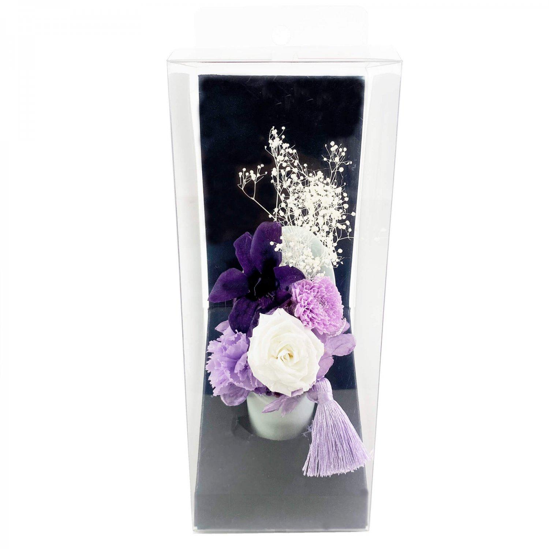 デンファレ&小菊 プリザーブド 供花 パープル アーティフィシャルフラワー アートフラワー