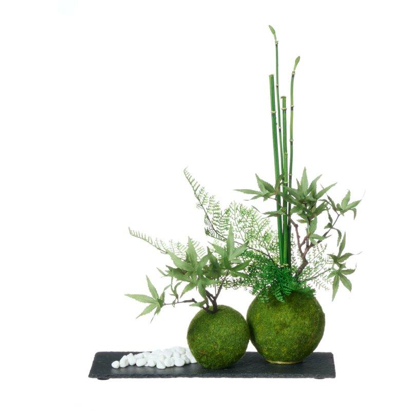 モミジ 寄せ植え苔玉 黒岩皿 CUPBON 盆栽 フェイクグリーン