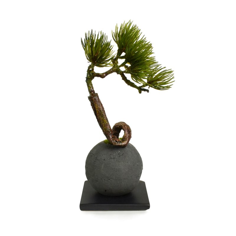 松・吹き流し 檜炭ボール(黒皿) CUPBON 盆栽 フェイクグリーン