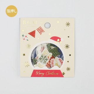 BGM  W箔押しフレークシール  【 クリスマスフラッグ 】