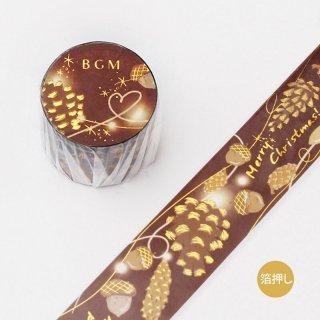 BGM  W箔押しマスキングテープ 30mm 【 クリスマス・どんぐり 】