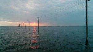 木更津 江川海岸の夕景 低空スライド