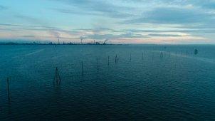 木更津 江川海岸の夕景 俯瞰