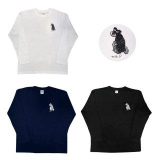 ミニチュアシュナウザー 振り向きシュナプリント長袖Tシャツ